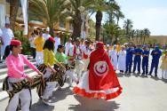 Tradiční tuniské uvítání s hudbou a tancem